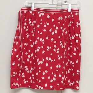 Liz Claiborne Skirts - Liz Claiborne Fully Lined Red Floral Wrap Skirt